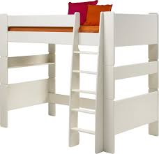 High Sleeper With Futon Steens For Kids Highsleeper Bed In Solid Plain White With Futon