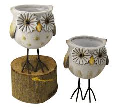 outdoor terracotta animal garden ornaments owl garden planters for
