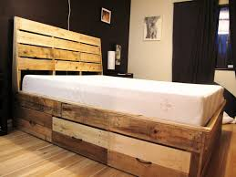 Bed Frame Made From Pallets Furniture Wood Pallet Bed Frame With Drawers Also White Cusion