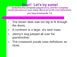subjects u0026 predicates project la activity every complete sentence