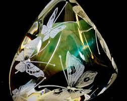 Butterfly Office Decor Hand Engraved Large Centerpiece Bowl Dragon Wedding Crystal