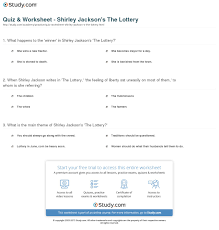 themes in the story the lottery quiz worksheet shirley jackson s the lottery study com