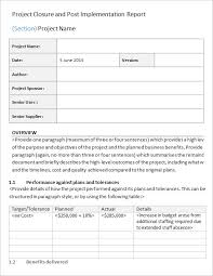 closure report template project closure report template 9 free word documents