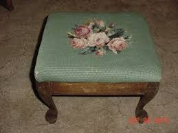 Easy Upholstery Antique Victorian Footstool Queen Ann Legs Needlepoint Upholstery