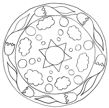 mandala pictures simple coloring pages printable labe with flower