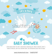 baby shower card stork carrying stock vector 548253787