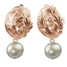 clip on earring la traviata gold vermeil leaf egg clip earring with pearl