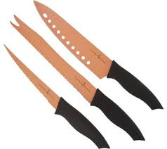 Kitchen Knives Set Reviews Copper Chef 3 Nonstick Knife Set Page 1 Qvc