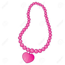 heart beaded necklace images Vector pink beaded necklace with heart shape pendant necklace jpg