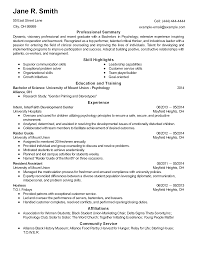 Resume Sample For Internship by Psychology Resume Template