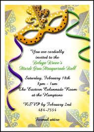 golden mask mardi gras invites with lots of invitation