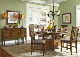 Pedestal Tables And Chairs Santa Rosa Pedestal Table 5 Piece Dining Set In Mission Oak Finish