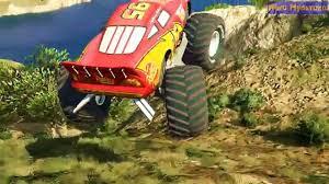 monster trucks lightning mcqueen spiderman spiderman with lightning mcqueen monster truck in cars cartoon