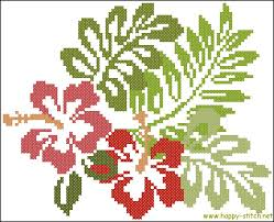 hibiscus flowers cross stitch pattern happy stitch