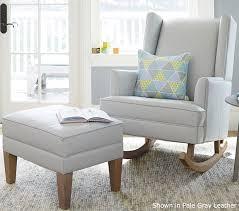 Modern Convertible Furniture by Leather Modern Wingback Convertible Rocker U0026 Ottoman Pottery
