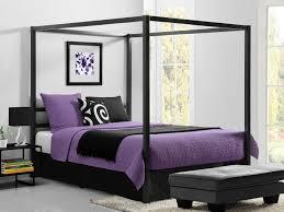 black glaze teak wood canopy bed using purple bedding set and