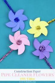 Paper Flowers Video - sparkle pipe cleaner construction paper flowers video