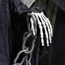 halloween haunters animated standing life size skeleton death