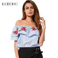 aliexpress com buy striped off shoulder shirt women tops fashion