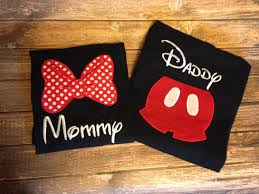 custom embroidered mommy and daddy mickey or minnie party or