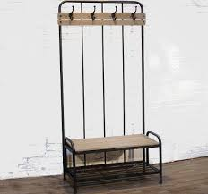 metal and wood bench coat rack antique farmhouse
