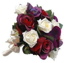 burgundy roses brides purple orchids burgundy and ivory wedding bouquet