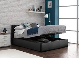Ottoman Bed Black Black Faux Leather Upholstered Bed Frame