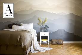 bedroom mural the mountain mural bedroom makeover apartment therapy