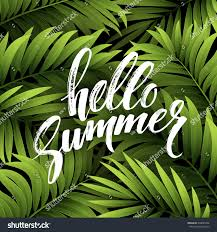 summer party poster palm leaf lettering stock vector 390045292