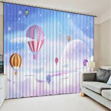 free shipping japanese curtains blue sky white clouds balloon