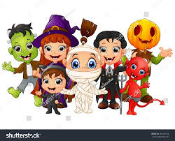 halloween kids costumes witch frankenstein dracula stock