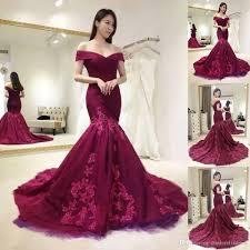 2018 Burgundy Evening Dresses Off The Shoulder Mermaid Applique Lace