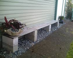 simple cinder block bench to tie in wood planks cinder block