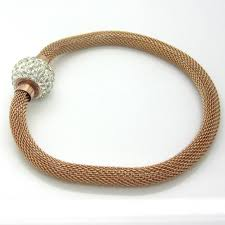 rose gold stainless steel bracelet images Mesh rose gold stainless steel diamant links look bracelet jpeg