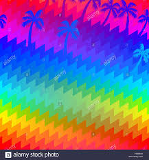 tropical rainbow palm trees stripes seamless pattern stock vector