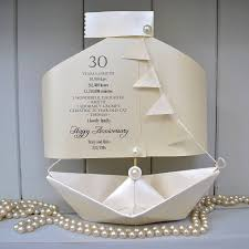 30th pearl wedding anniversary paper boat card by the