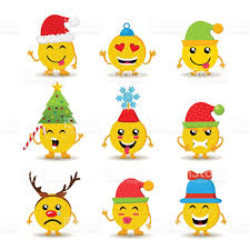 holiday emoji icon set for christmas and new year stock vector art