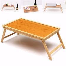 Bed Laptop Desk Foldable Wooden Bamboo Bed Tray Breakfast Laptop Desk Tea Serving