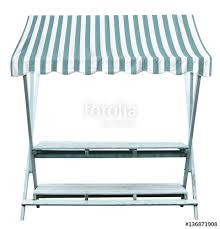 Striped Awning Wooden Market Stand Stall With Blue White Striped Awning