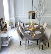 narrow dining room table with leaves using gray color schemes and