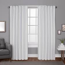 Winter Window Curtains Zeus Winter White Solid Textured Jacquard Blackout Back Tab Top