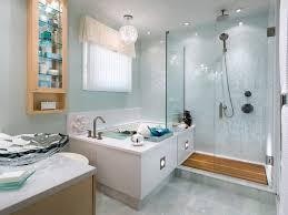 beauteous modern bathroom with glass enclosure showers combined