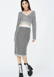 matching set matching sweater set midi skirt dolls kill