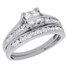 10k white gold wedding band 10k white gold princess diamond channel set engagement ring
