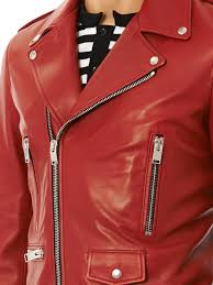 motorcycle jacket vest saint laurent leather motorcycle jacket in red for men lyst