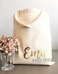 bridesmaid bags custom tote bags tote bag personalized tote bag name and title