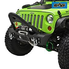 bumpers for jeep amazon com eag jk stubby front bumper with stinger oe fog light