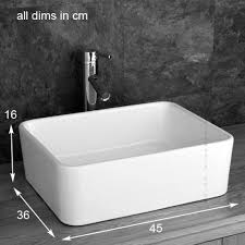 Deep Bathroom Sink by Stylish Trieste Rectangular Basin Glass Shelf Inc Tap