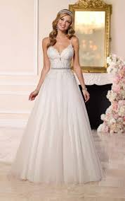 spaghetti wedding dress a line tulle wedding dress spaghetti straps stella york