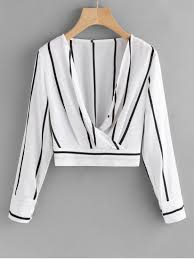 s blouse crossed front stripes blouse white blouses s zaful